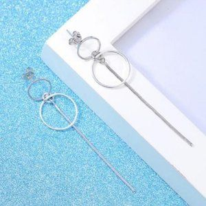 NEW 925 Sterling Silver Double Circle Earrings